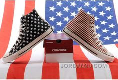 f56d4dd4d886 2014 Jointly Converse American Flag Stars And Stripes Black Red Chuck  Taylor All Star High Tops Canvas Sneakers   Converse flag shoes and converse  platform ...