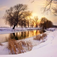 ***Winter evening on the river (Ukraine) by Viktor Tulbanov on Ukraine, Colours, Rivers, Winter, Painting, Outdoor, Cold, Beautiful, Winter Time
