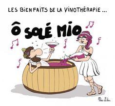 Les bienfaits de la vinothérapie... Image: Miss Lilou http://dessinsmisslilou.over-blog.com/