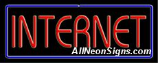 "Internet Neon Sign-10564-5648  13"" Wide x 32"" Tall x 3"" Deep  110 volt U.L. 2161 transformers  Cool, Quiet, Energy Efficient  Hardware & chain are included  6' Power cord  For indoor use only  1 Year Warranty/electrical components  1 Year Warranty/standard transformers."