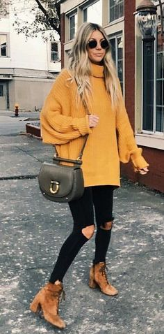 #winter #outfits yellow knitted turtle neck swearter #sweatersforwomen