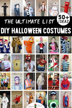 There are over 50 DIY Halloween costumes including homemade costumes for kids, for families, for boys, for toddlers, for Tween Boys Halloween Costumes, Quick N Easy Halloween Costumes, Easy Disney Costumes, Diy Halloween Party, Homemade Costumes For Kids, Boy Costumes, Costume Ideas, Halloween 2020, Diys