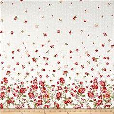 Telio Swiss Dot Floral Border Print White/Multi