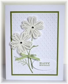 Becky, Scrappin' and Stampin' in GJ:  Stampin' Up! images; flowers heat embossed with white EP on vellum and punched out; white and pear cardstock