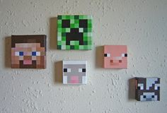 Mincraft Inspired 3D Sheep Painting by HGLucky13 on Etsy - These would be cool to paint in Dollarstore canvas