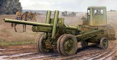 M1931 122mm russian canon being towed by a Stalinetz Tractor