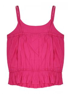 Giver her collection of casual wardrobe essentials a cute twist in this older girls cream viscose cami. Featuring a bright pink with thin straps this is perf...