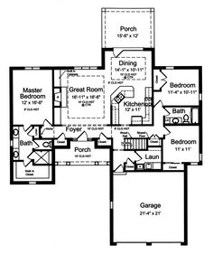 Open Ranch Style Floor Plans   Ranch House Plan First Floor - 065D-0309   House Plans and More
