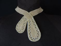 vintage pearl collar necklace. made in japan by cricketcapers