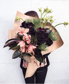 Dramatic fall and winter bouquet - Flowers and Floral Arrangements - Dark Flowers, Flowers In Hair, Fresh Flowers, Pretty Flowers, Floral Flowers, Prettiest Flowers, Pink And Purple Flowers, Big Flowers, Wedding Flower Arrangements