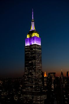 On Monday, November 06, 2017, the Empire State Building will be lit Purple and yellow in honor of the 100th Anniversary of Women's Suffrage in NY.