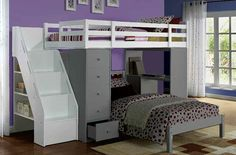 Freya White Wood Loft Bed & Bookcase Ladder