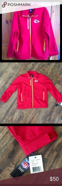 Selling this NFL KC Chiefs Jacket on Poshmark! My username is: heartfinds. #shopmycloset #poshmark #fashion #shopping #style #forsale #NFL Team Apparel #Jackets & Blazers