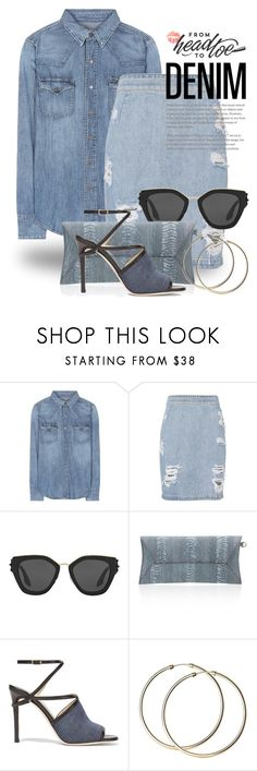 """""""All Denim, Head to Toe 3498"""" by boxthoughts ❤ liked on Polyvore featuring Polo Ralph Lauren, IRO, Prada, Okapi, Jimmy Choo and alldenim"""