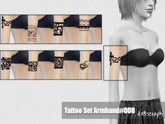The Sims Resource: Tattoo Set Armband #008 by dx8seraph • Sims 4 Downloads