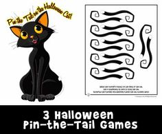 Three free Halloween party games to print - pin the tail on the cat, pin the…