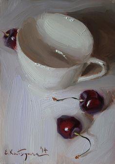 """""""Red on White"""" original fine art by Elena Katsyura"""