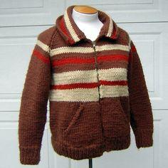 Vintage 60s Hand Knit Wool Sweater Jacket  Ralphie by FashionPuss