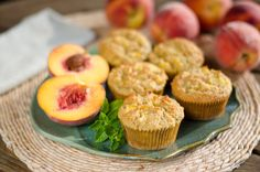 This fresh paleo peach muffins recipe with chunks of peaches baked into the muffins are like cake with honey, almond and lemon flavors.