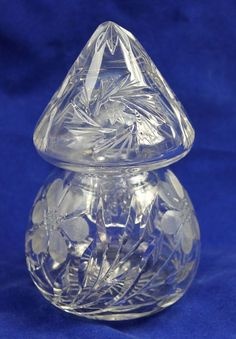Antique EAPG Cut Glass Decanter Perfume Bottle Container or Flower Bud Vases