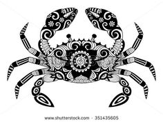 Hand drawn zentangle crab for coloring book for adult, tattoo, shirt design, logo and so on