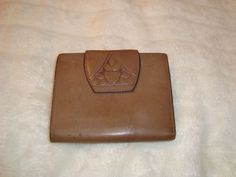 Vintage Rolfs Genuine Leather Bi Fold Camel Brown Wallet W/Kiss Lock Coin Purse  #Rolfs #BiFoldwithCoinPurse