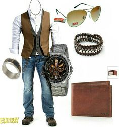Men's brown vest casual dressy outfit
