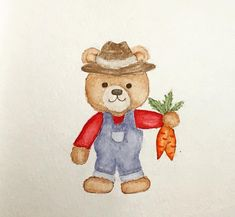 #watercolor #teddybear #bear #farmer #carrots