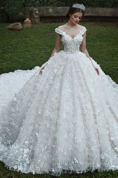 Wedding Dress Lace, Luxury Lace Off-the-shoulder Neckline Ball Gown Wedding Dress With Lace Appliques & Flowers & Beadings Cute Bridal V Neck Wedding Dress, Dream Wedding Dresses, Bridal Dresses, Wedding Gowns, Bridesmaid Dresses, Lace Wedding, Bridesmaid Separates, Wedding Blush, Wedding Corset
