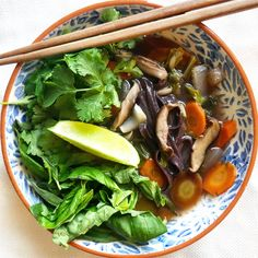 Mushroom Pho with Black Rice Noodles Vietnamese Soup, Black Rice, Sauteed Mushrooms, Rice Noodles, Recipe Using, Pho, Food Dishes, Tofu, Repeat