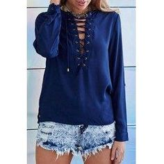#trendsgal.com - #Trendsgal Round Neck Long Sleeve Lace Up Solid Color T Shirt - AdoreWe.com