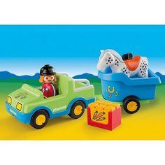 Jouet PLAYMOBIL 123 Véhicule avec remorque et cheval 6958 Shops, Fisher Price, Presents, Kids, Baby, Detail, Shopping, Cars, Horse