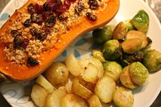 Vegan Christmas food: twice-baked butternut squash with cashew cheese, walnuts and cranberries