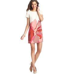 Placed Floral Print Short Sleeve Shift Dress from Loft #wedding #dresses #Hamptons