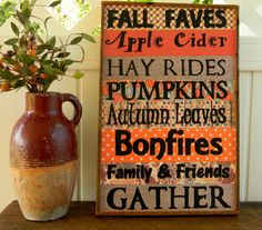 Fall Decor Wood Sign Autumn Decor Apple by OurLittleCountryShop