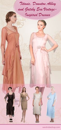 Vintage-Style clothes inspired by the Titanic, Downton Abbey and Gatsby Eras. I like the peach one