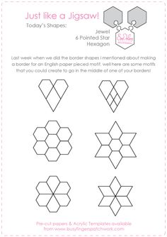 Patterns that fit hexagons, to place in borders, corners or sashing.
