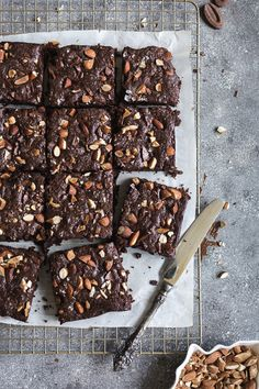 Vegan Spelt Flour Almond Butter Brownies: Maple and coconut sugar sweetened almond butter brownies made with spelt flour and dark chocolate.