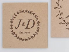 Woodland Wedding Initials Stamp by TheCreativeParasol on Etsy, $65.00