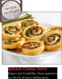 Spinach-cheese swirls - These tempting appetizers look like they're difficult to make. They feature a spinach, onion and cheese filling simply rolled up in flaky puff pastry and sliced into pinwheels. Pepperidge Farm Puff Pastry, Good Food, Yummy Food, Puff Pastry Recipes, Comida Latina, Spinach And Cheese, Spinach Rolls, Snacks Für Party, Appetisers
