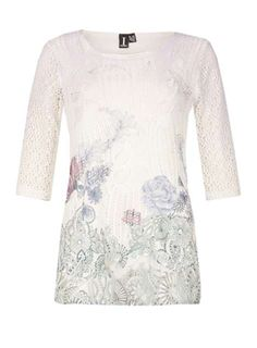 *Izabel London Multi White Crochet Top