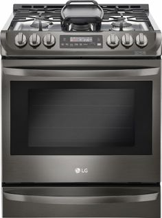 LG - 6.3 Cu. Ft. Self-Cleaning Slide-In Gas Convection Range - Black stainless steel - Front Zoom