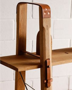 wood and leather furniture. modern design. Market Shelf -Tall Narrow