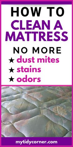 Learn how to clean a mattress with these simple mattress cleaning hacks to get rid of stains, dust mites, sweat and smell, including how to deep clean a mattress and how to use baking soda for cleaning your mattress. What Is Baking Soda, Baking Soda For Skin, Baking Soda On Carpet, Baking Soda Cleaning, Baking Soda Uses, Household Cleaning Tips, Diy Cleaning Products, Cleaning Hacks, Cleaning Checklist