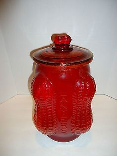 RARE-VINTAGE-CRANBERRY-PLANTERS-PEANUT-LARGE-COUNTER-GLASS-JAR-4-CORNER-PEANUT