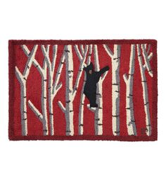 Our Hooked Wool Black Bear in Birches Accent Rug brings the great outdoors to your home with a charming image of a young black bear climbing a birch tree. Designed by Vermont artist Laura Megroz, our Wool Bear Rug is perfect for protecting and decorating your floors or hearth. All-natural, luxurious New Zealand wool is hand-hooked into a thick, chunky loop that provides substantial protection for your floors or in front of your fireplace. Durable wool fibers are fire-resistant,