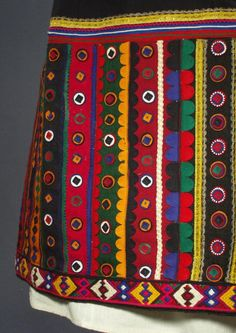 ANTIQUE Bulgarian Folk Costume with embroidered dress apron & blouse