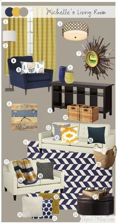 Living Room Mood Board via Cape 27 - upstairs hall colors? Navy Living Rooms, New Living Room, My New Room, Home And Living, Living Room Decor, Room Color Schemes, Living Room Inspiration, Color Inspiration, Living Room Designs