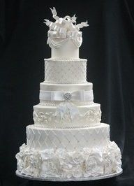 Suzy Zimmermann, Queen of Cake and Events - San Antonio Cakes - Six-tier bright white wedding cake with fondant details and piped design