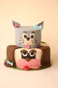 This is a cute cake of a cat and a dog. I like that the cat looks like Tom from the Tome and Jerry cartoon. That would be a good idea, too: a cat and a mouse cake. #puppied PP: dog themed birthday party ideas | Pet Theme Party Planning